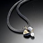 Butterfly Leaf Pendant by Christine Mackellar (Bimetal, Pearl & Stone Necklace)