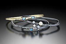 Gemstone & Pearl Autus Bangle Bracelets by Christine Mackellar (Gold, Silver & Stone Bangle)
