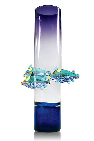 Purple Vase with Triggerfish