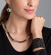 Loom Bracelet by Claudia Fajardo (Art Glass & Silver Bracelet)