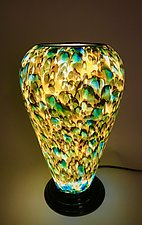 Green & Yellow Table Lamp by Curt Brock (Art Glass Table Lamp)