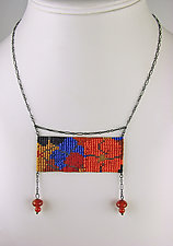 California Dream Panel Necklace with Carnelian Pendants by Julie Long Gallegos (Beaded Necklace)