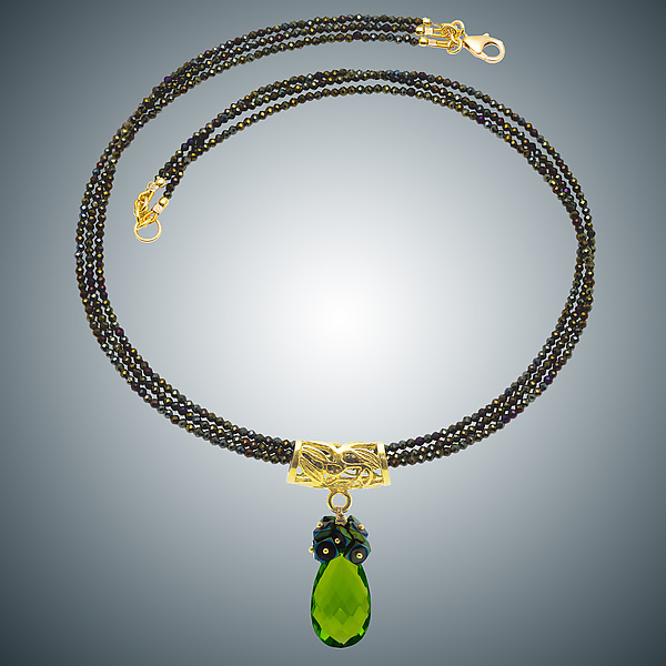 Peridot Quartz Teardrop and Spinel Necklace