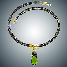 Peridot Quartz Teardrop and Spinel Necklace by Judy Bliss (Beaded Necklace)