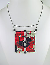 California Dream Beaded Panel in Red and Neutrals by Julie Long Gallegos (Beaded Necklace)
