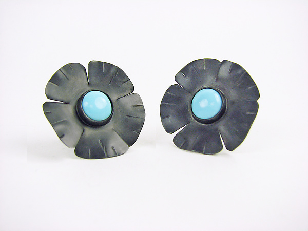 Silver Flowers with Turquoise