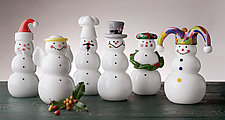 Glass Snowmen by Thomas Kelly (Art Glass Paperweight)