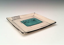 Scribble Flower Square Plate by Whitney Smith (Ceramic Platter)