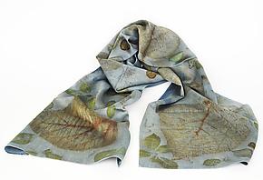Indigo Skyfall Silk Charmeuse Scarf by Ayn Hanna (Silk Scarf)