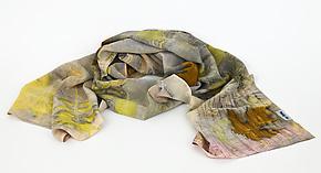Botanical Mist Stonewashed Silk Crepe de Chine Scarf by Ayn Hanna (Silk Scarf)