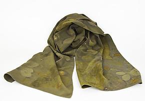 Olive Branch Stonewashed Silk Crepe de Chine Scarf by Ayn Hanna (Silk Scarf)