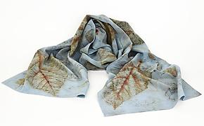 Indigo Skyfall Stonewashed Silk Crepe de Chine Scarf by Ayn Hanna (Silk Scarf)