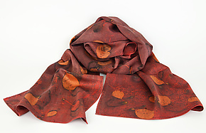 Red Madder Pattern Silk Charmeuse Scarf by Ayn Hanna (Silk Scarf)