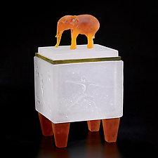 Elephant Box by Georgia Pozycinski and Joseph Pozycinski (Art Glass & Bronze Sculpture)