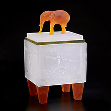 Elephant Box by Georgia Pozycinski and Joseph Pozycinski (Art Glass & Bronze Sculpture)