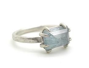 Aquamarine Parallel Pyramid Vanity Ring by Hannah Blount (Silver & Stone Ring)