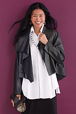 Sumptuous Cropped Asymmetrical Jacket by Planet   (Microfiber Jacket)
