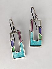 Open Window Earrings No. 448 by Carly Wright (Enameled Earrings)