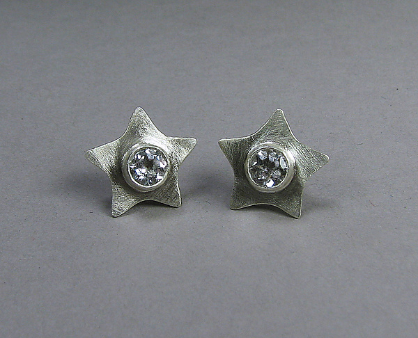 Evening Stars in Silver and White Topaz