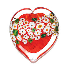 Honeysuckle Heart Paperweight by Shawn Messenger (Art Glass Paperweight)