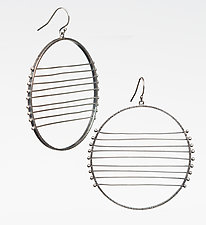 Nine-Line Horizon Earrings by Nikki Nation (Silver Earrings)