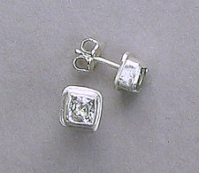 White Topaz Ice Cube Earrings by Julie Long Gallegos (Silver & Stone Earrings)