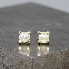 4mm Rose Cut Yellow Diamond Stud Earrings by Sarah Hood (Gold & Stone Earrings)