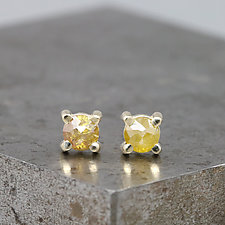 4mm Rose Cut Dark Yellow Diamond Stud Earrings by Sarah Hood (Gold & Stone Earrings)