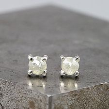 4mm Rose Cut Light Green Diamond Stud Earrings by Sarah Hood (Gold, Silver, & Stone Earrings)