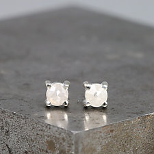 3.5mm Rose Cut White Diamond Stud Earrings by Sarah Hood (Gold & Stone Earrings)