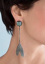 Double Feather Linear Drop Earrings by Linda Azar (Silver & Stone Earrings)