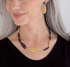 Single Strand Drop Necklace by Leia Zumbro (Steel & Brass Necklace)
