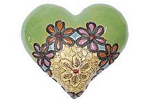 Bleita's Ballerinas in Green by Laurie Pollpeter Eskenazi (Ceramic Wall Sculpture)