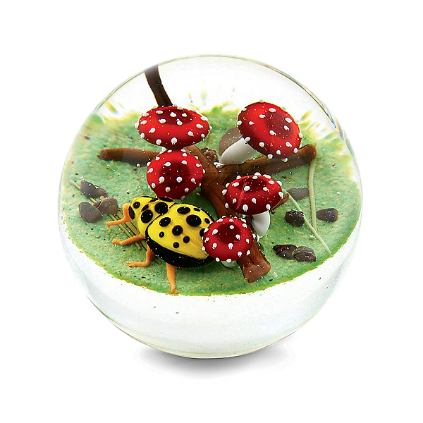 Yellow Ladybug with Fanciful Mushrooms Miniature Paperweight
