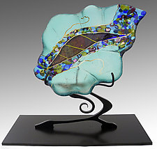 Small Leaf Sculpture in Sea Glass by Karen Ehart (Art Glass Sculpture)