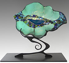 Small Leaf Sculpture in Emerald Green by Karen Ehart (Art Glass Sculpture)