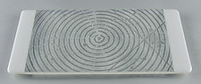 ColorCentric White Serving Plank by Terry Gomien (Art Glass Tray)