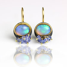 Opal Dangles with Tanzanite Clusters by Wendy Stauffer (Gold, Silver & Stone Earrings)