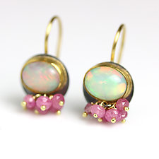 Opal Dangles with Pink Sapphires by Wendy Stauffer (Gold, Silver & Stone Earrings)
