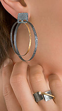 Carved Double Hoop Earrings by Heather Guidero (Gold & Silver Earrings)