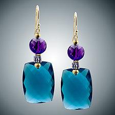 London Blue Quartz & Amethyst Earrings by Judy Bliss (Gold & Stone Earrings)
