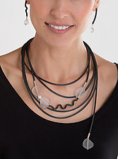 Frozen in Time Necklace by Dagmara Costello (Art Glass & Rubber Necklace)