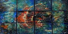 Rose Nebula in Twelve Panels by Cynthia Miller (Art Glass Wall Sculpture)