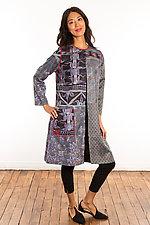 Silk Crew Neck Coat #3 by Mieko Mintz  (Size 1 (4-14), One of a Kind Coat)