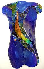 Sapphire Moon Male Figure by Karen Ehart (Art Glass Wall Sculpture)