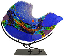 Cobalt Nautilus by Karen Ehart (Art Glass Sculpture)