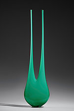 Bright Green Double Neck by Ryan Selby (Art Glass Sculpture)