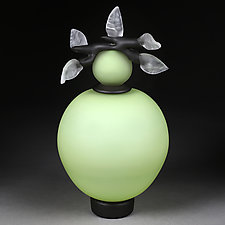 Novi Zivot (New Life) Satin Sage Large Sphere by Eric Bladholm (Art Glass Vessel)