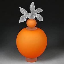 Novi Zivot (New Life) Satin Tangerine Large Sphere by Eric Bladholm (Art Glass Vessel)