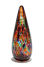 Multicolor Flame Paperweight with Bubble Pattern by Gina Lunn (Art Glass Paperweight)